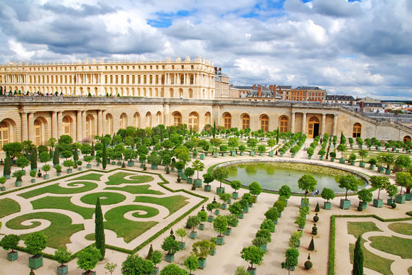 The exterior and garden of Versailles.