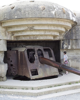 The abandoned German gun battery at Longues-sur-Mer in Normandy.