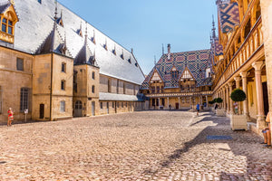 The main courtyard of the Hospices de Beaune.