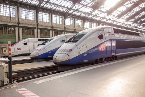 A TGV train in Paris gets ready to board passengers headed for Dijon, France.