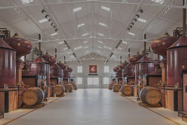 The interior of the Hennessy distillery in Cognac, France.