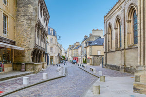 A quiet side street in the town of Bayeux, Normandy.