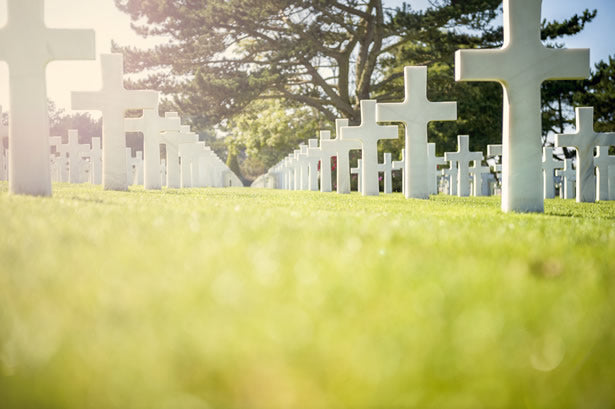 Headstones at the American military cemetery at Colleville-sur-Mer in Normandy.