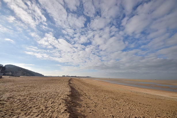 A peaceful Omaha Beach in Normandy, France.