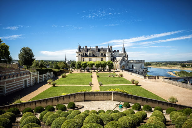 The gardens and exterior of Amboise in the Loire Valley.