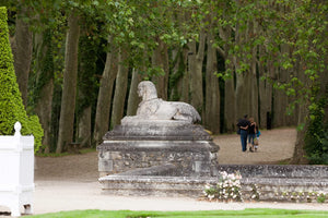 "A statue along the ""Avenue of Trees"" at Chenonceau castle."