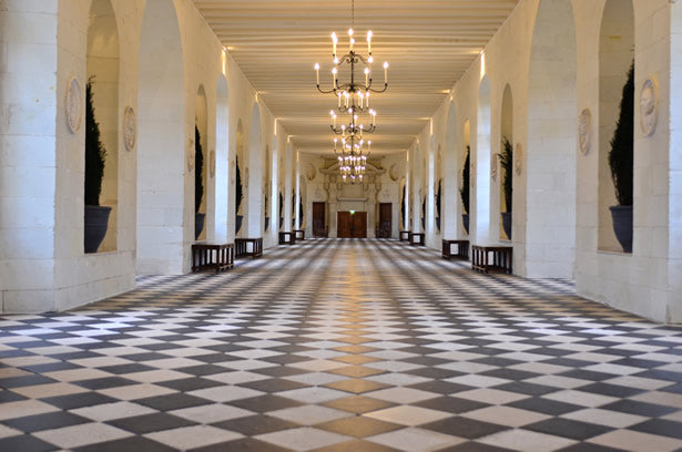 The grand hall inside Chenonceau castle in the Loire Valley.