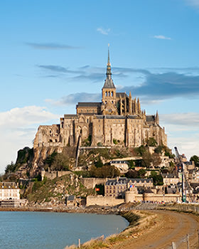 The exterior of the Abbey at Mont St. Michel.
