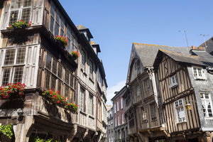 Half-timbered houses in the medieval city of Dinan, France.