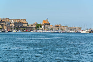 A view of the old town and harbor of St. Malo from across the bay.