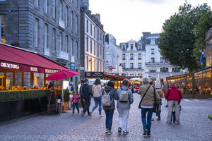 Tourists from Paris visit the old town of Saint Malo.