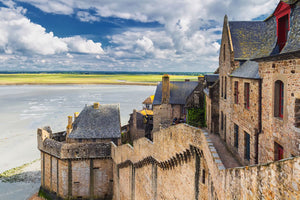 A view of the marshland surrounding Mont Saint Michel castle in France.