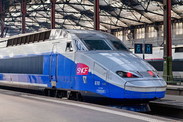 A TGV train bound for the city of St. Malo sits at Gare Montparnasse in Paris.