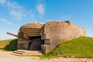 A German gun battery in Normandy.
