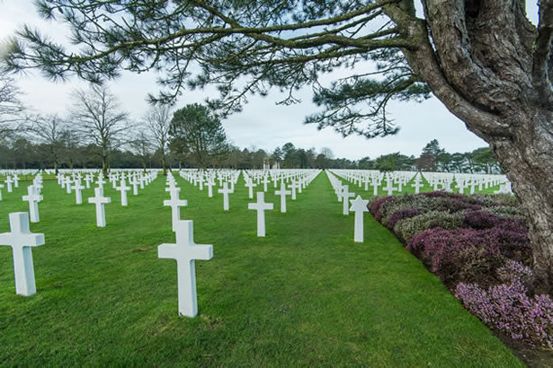 Headstones at the American military cemetery at Colleville-sur-Mer in Normandy, France.