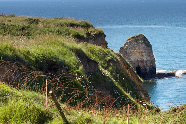 The cliffs at Pointe du Hoc in Normandy.