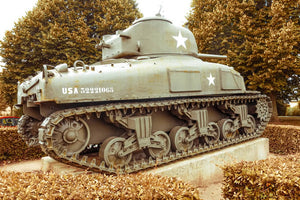 A tank on display at the American Military cemetery near Omaha Beach.