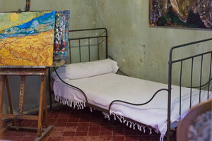 A recreation of Vincent Van Gogh's bedroom in Provence, France.