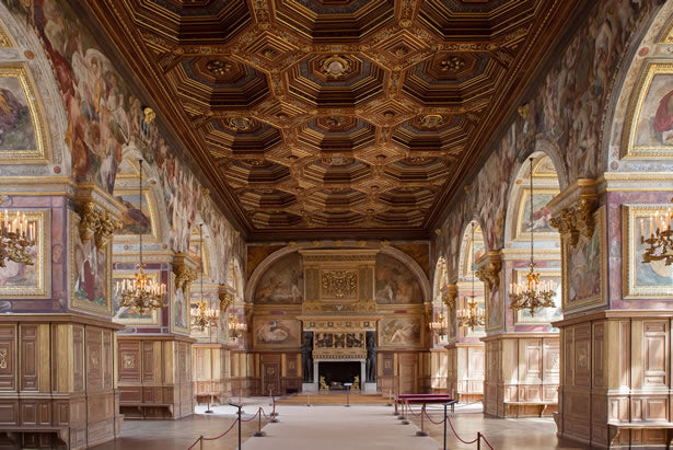 The inside hall at Fontainebleau castle.