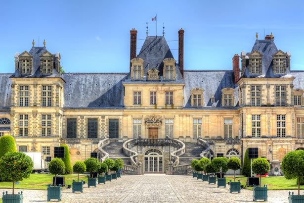 The exterior of Fontainebleau castle.