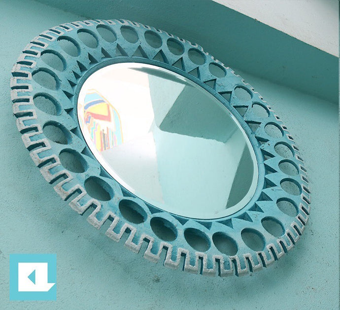Baby Blue Floral Tire Mirror