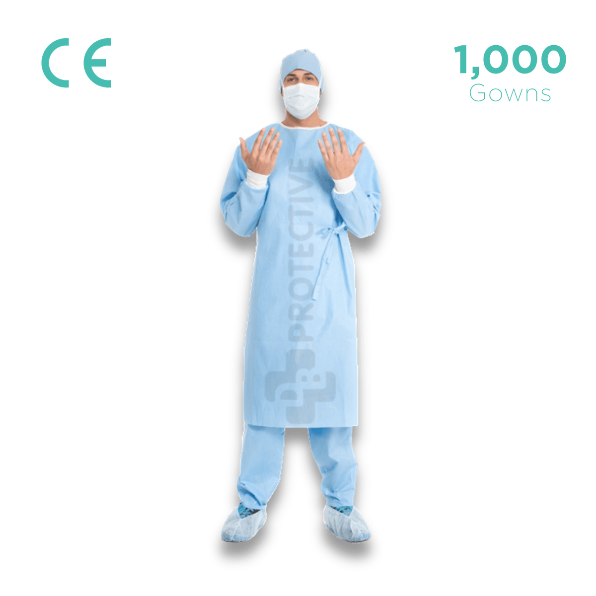 PPE Disposable Gowns (Polypropylene + PE Gowns) - Pack of 1,000.