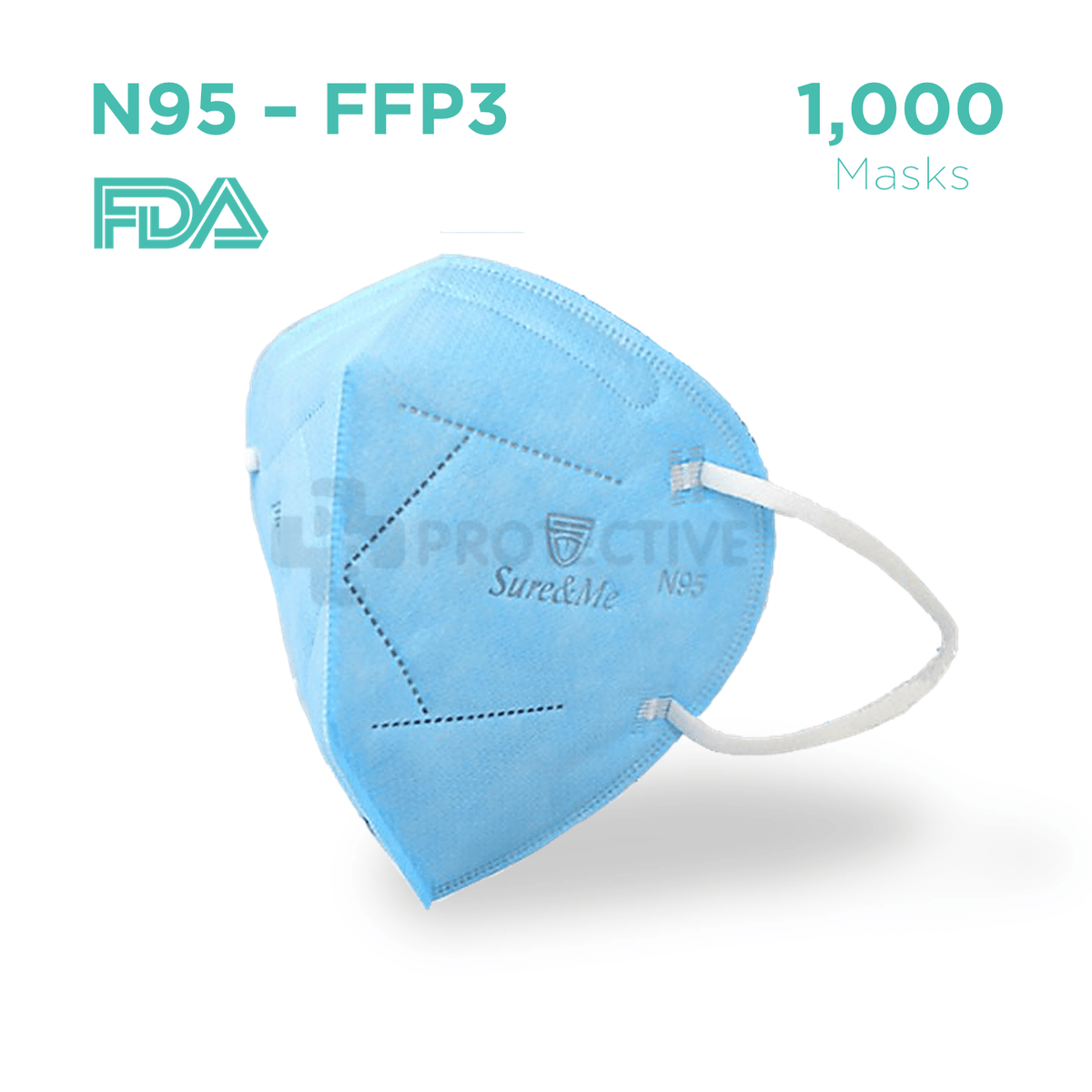 N95 FFP3 Medical Protective Face Mask - Pack of 1,000.