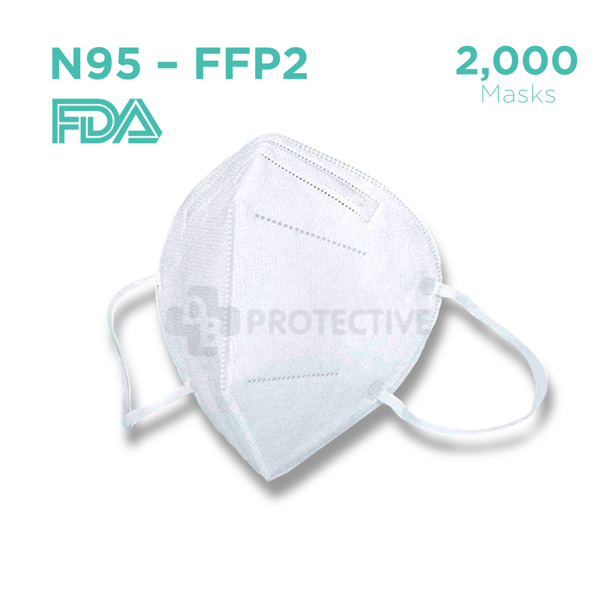 N95 FFP2 Medical Protective Face Mask - Pack of 2,000
