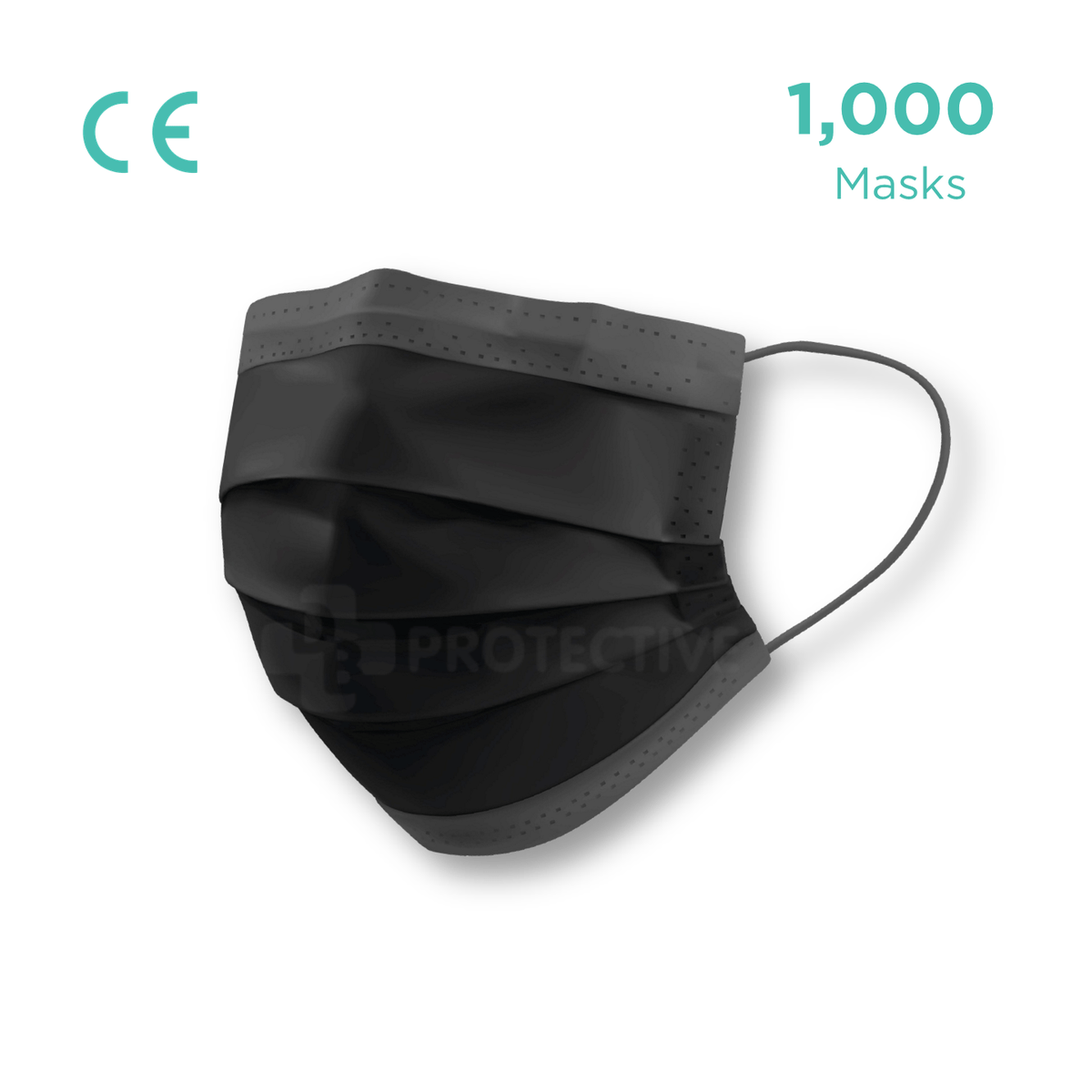 3-Ply Black Disposable Surgical Civil Face Mask (Level 1) - Pack of 1,000 - USA Medical Supply - DB Protective