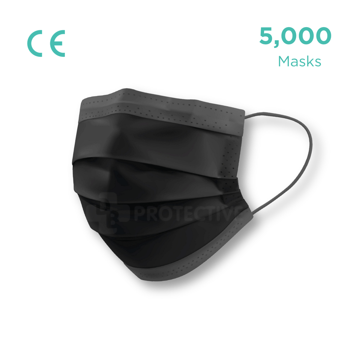3-Ply Black Disposable Surgical Civil Face Mask (Level 1) - Pack of 5,000 - USA Medical Supply - DB Protective