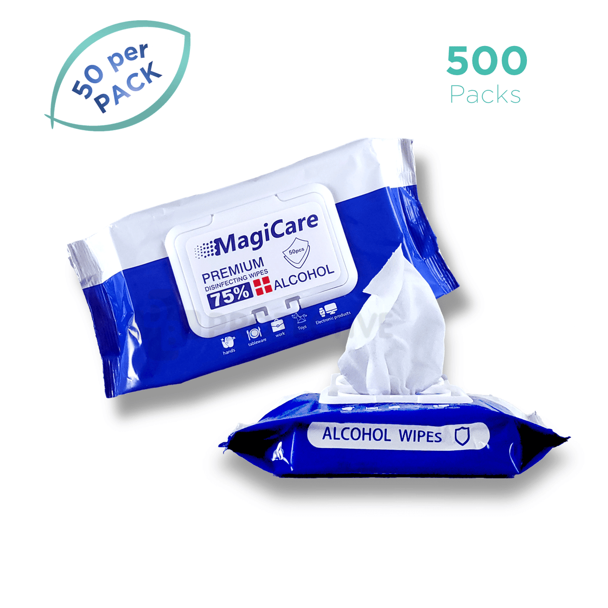 ALCOHOL WIPES -Disinfecting Sanitizing Wipes -  500 Packs.