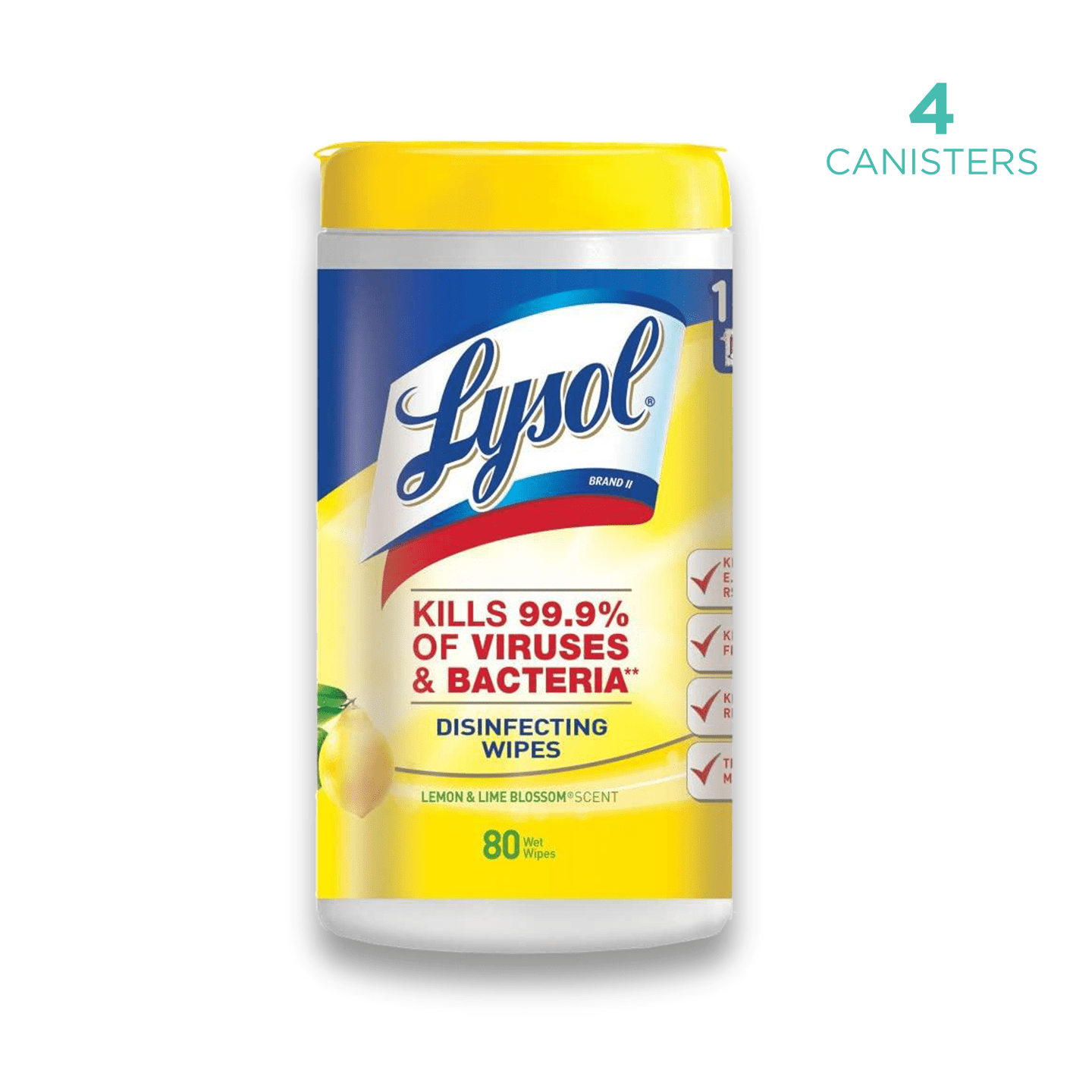 Lysol® Disinfecting Wipes - 3 canister of 80 wipes - Lemon and Lime - USA Medical Supply - DB Protective