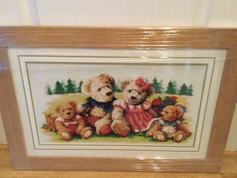 Framed diamond painting of a teddy bear family