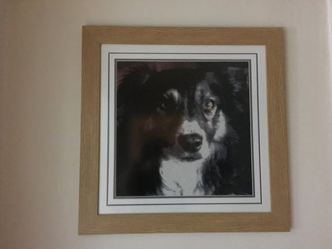 Framed Diamond Painting of a dog