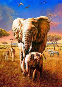 African Elephants Together