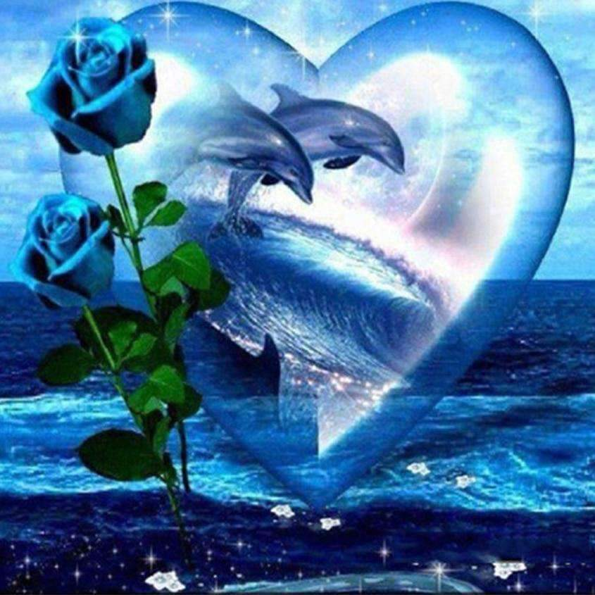 Dolphin Heart and Roses