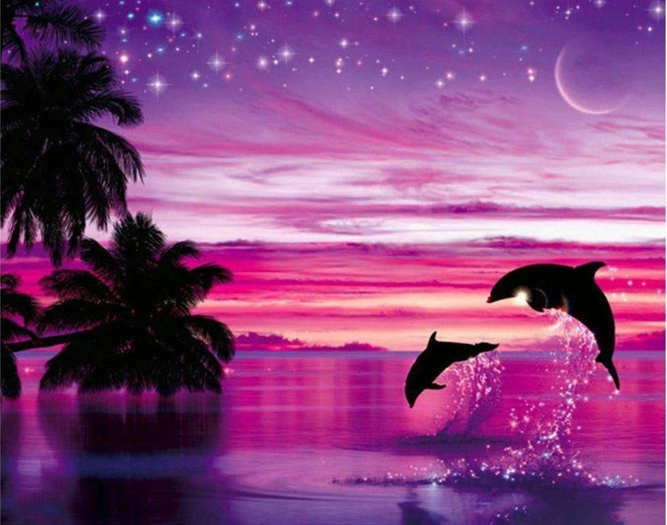 Dolphins Purple Sunset