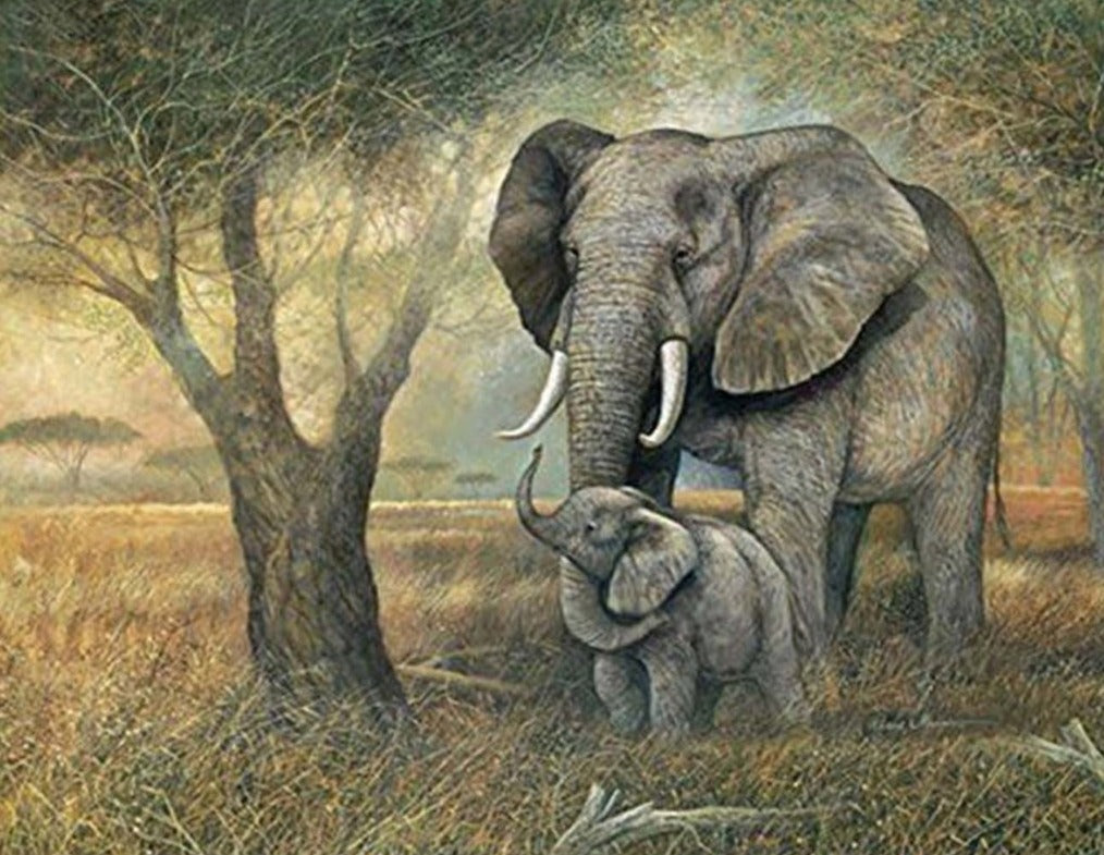 Elephant and Little by the Tree
