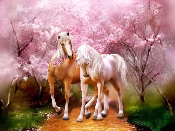Horses Pink Blossom