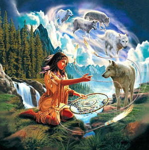 Indian with Dreamy Wolves