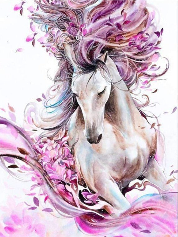 Horse with Pink Flowers