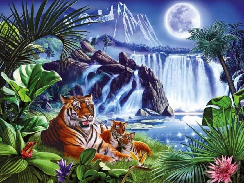 Tigers at the Waterfall
