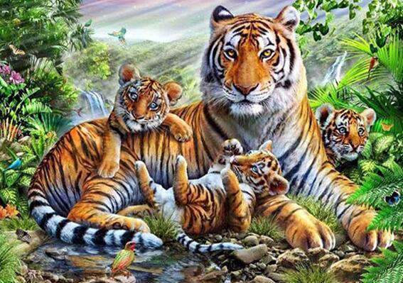 Tiger with Little Ones