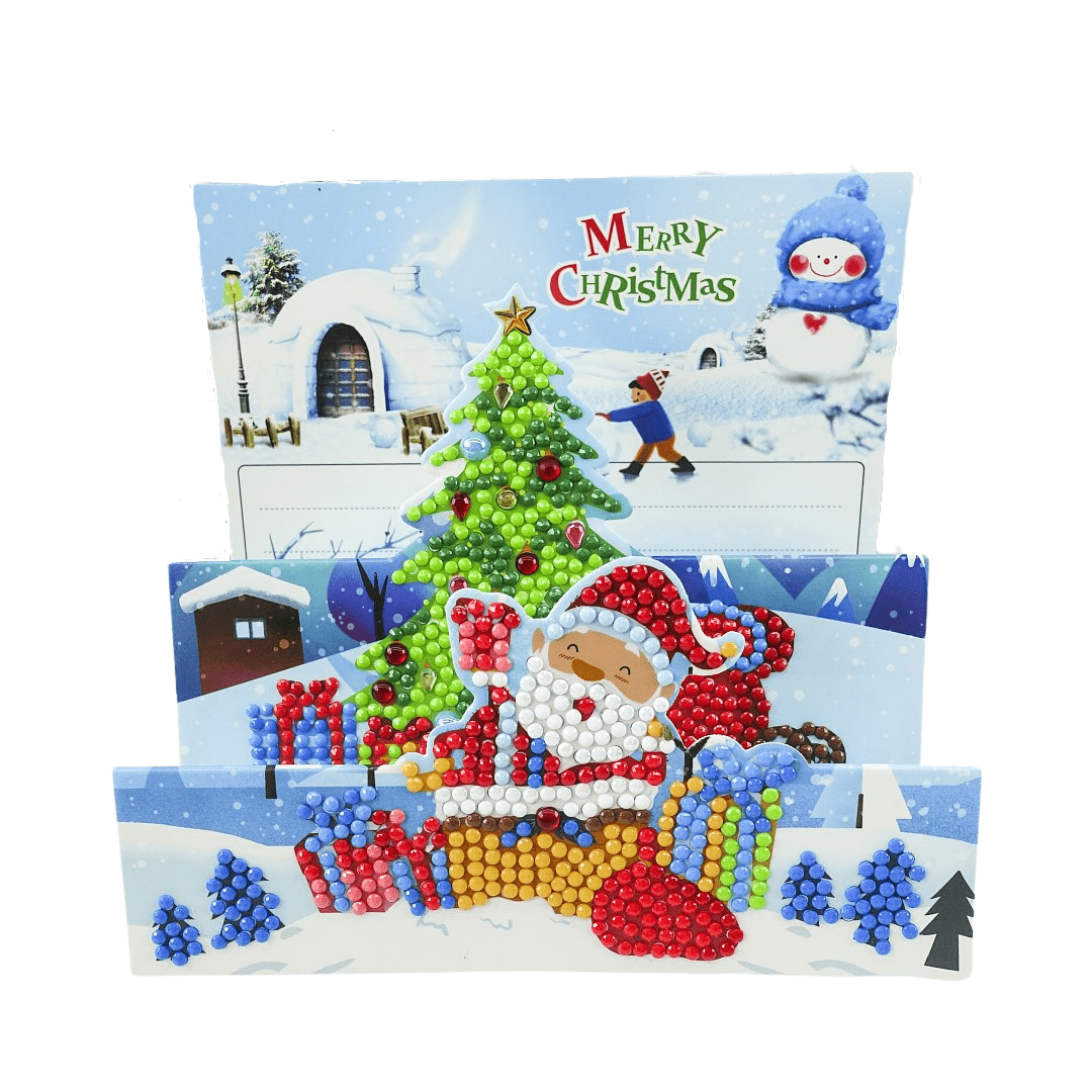 Unfoldable 3D Christmas Card Santa Christmas Tree