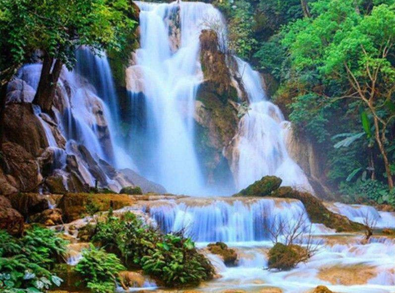 Waterfall Forest Mountains