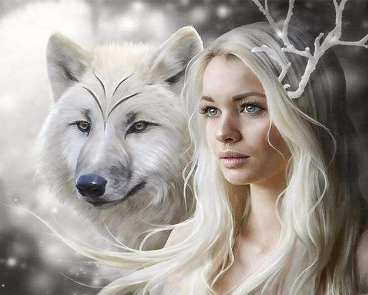 White Wolf with Blond Girl