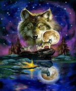 Wolf at Full Moon
