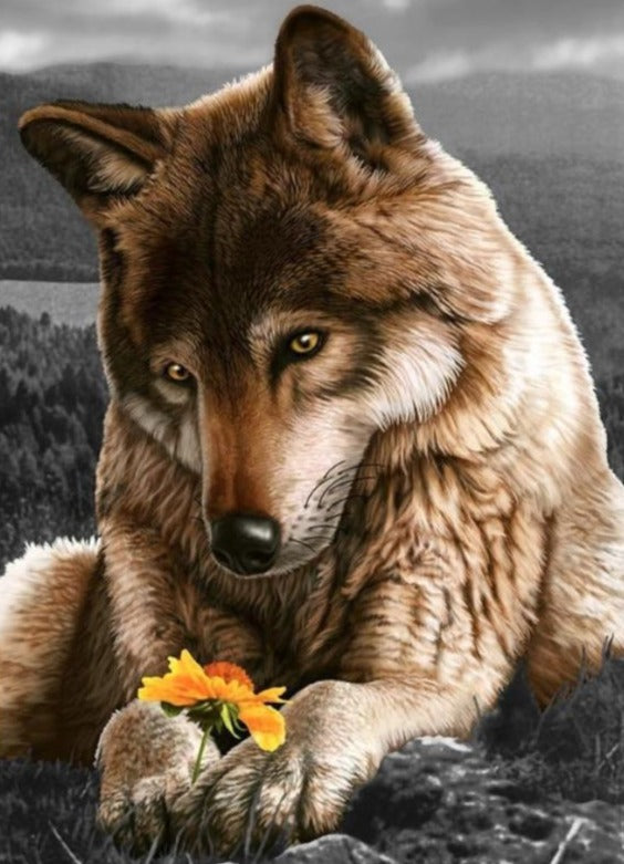 Wolf with a Flower