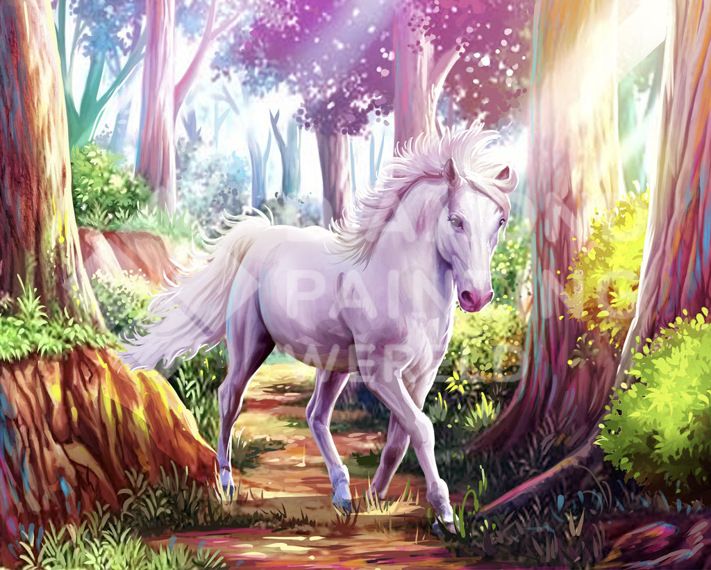 White Horse in Forest | Exclusive Design