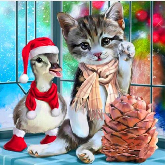 Duckling and Kitten Celebrate Christmas